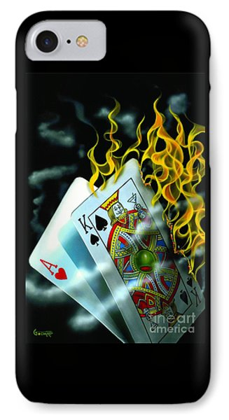 Burning Blackjack IPhone Case by Michael Godard