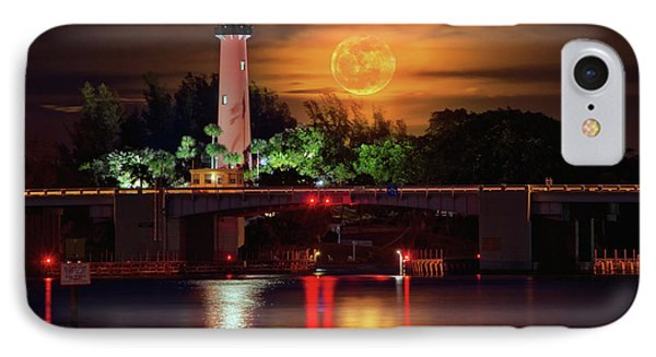 Burning Moon Rising Over Jupiter Lighthouse IPhone Case by Justin Kelefas
