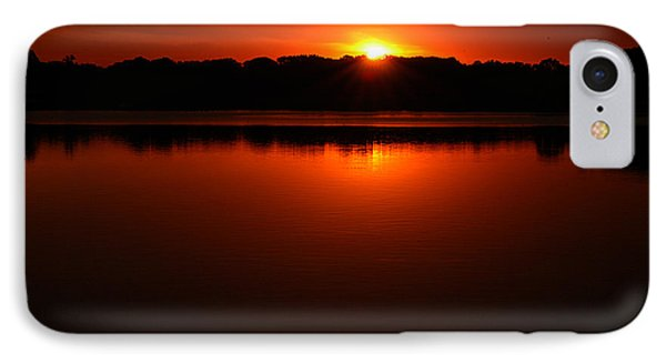 Burnt Orange Sunset On Water IPhone Case by Clayton Bruster