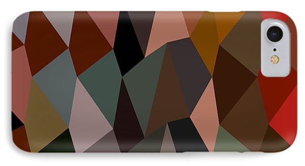 Burnt Umber Abstract Low Polygon Background IPhone Case by Aloysius Patrimonio