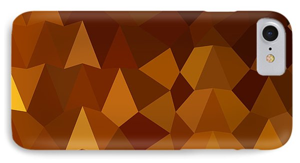 Burnt Umber Brown Abstract Low Polygon Background IPhone Case by Aloysius Patrimonio