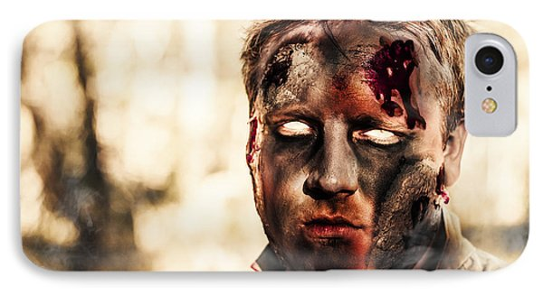 Burnt Zombie Standing In Smouldering Horror Forest IPhone Case by Jorgo Photography - Wall Art Gallery