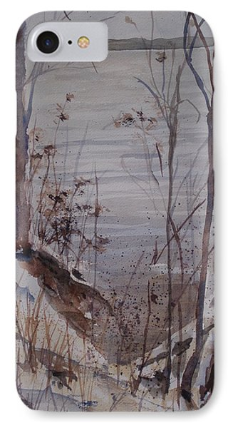 IPhone Case featuring the painting Burt Lake In Winter by Sandra Strohschein