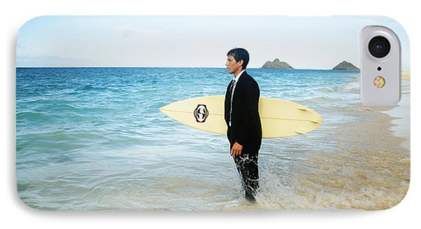 Business Man At The Beach With Surfboard Phone Case by Brandon Tabiolo - Printscapes