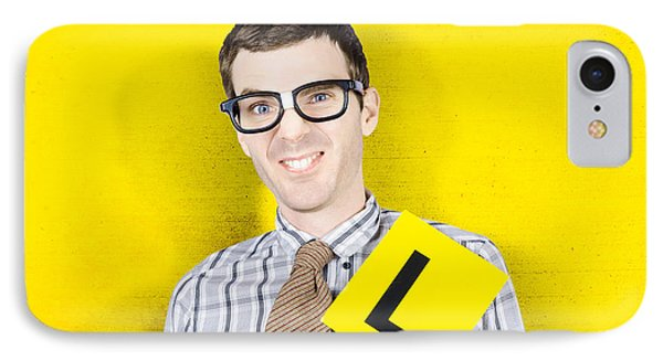 Business Man Starting First Day With L Plates IPhone Case by Jorgo Photography - Wall Art Gallery