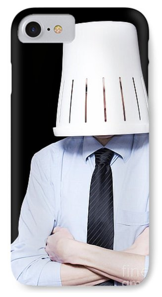 Business Person Under Stress Wearing Paper Bin IPhone Case by Jorgo Photography - Wall Art Gallery