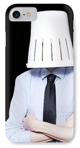 Business Person Under Stress Wearing Paper Bin IPhone Case
