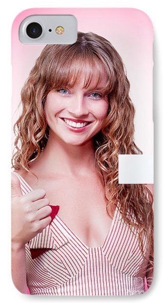 Business Woman Handing Over A Blank Business Card IPhone Case by Jorgo Photography - Wall Art Gallery
