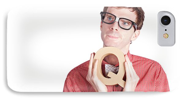 Businessman Holding Q For Question IPhone Case by Jorgo Photography - Wall Art Gallery