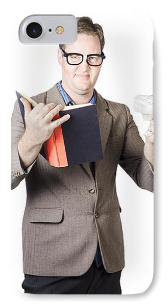 Businessman With Book And Crumpled Paper Phone Case by Jorgo Photography - Wall Art Gallery