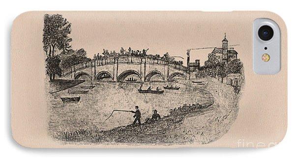 Busy Richmond Bridge And Fishermen Phone Case by Donna Munro