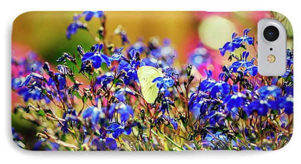 Butterfly On Flowers IPhone Case by Mike Santis