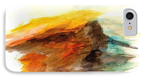 IPhone Case featuring the painting Butte At Sunset by Fred Wilson