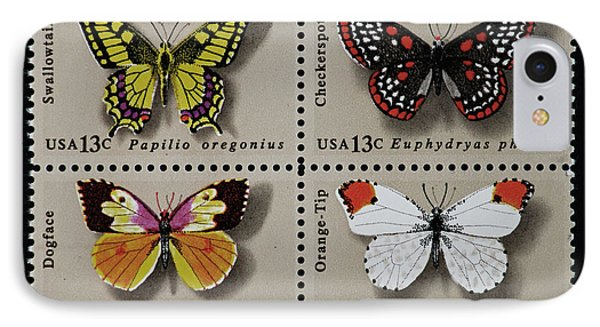 Butterflies Postage Stamp Print IPhone Case