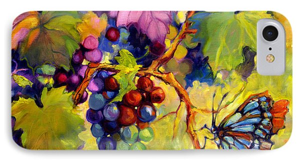 Butterfly And Grapes Phone Case by Peggy Wilson