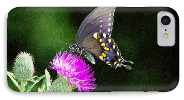 Butterfly And Thistle Phone Case by Jeff Kolker