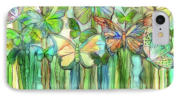 Butterfly Bloomies 3 - Rainbow IPhone Case by Carol Cavalaris