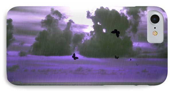 Butterfly Dreams And A Purple Sky IPhone Case by Rosalie Scanlon