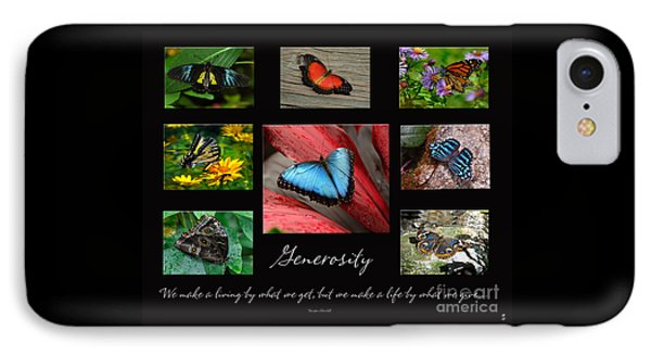 IPhone Case featuring the photograph Butterfly Generosity Collage by Diane E Berry