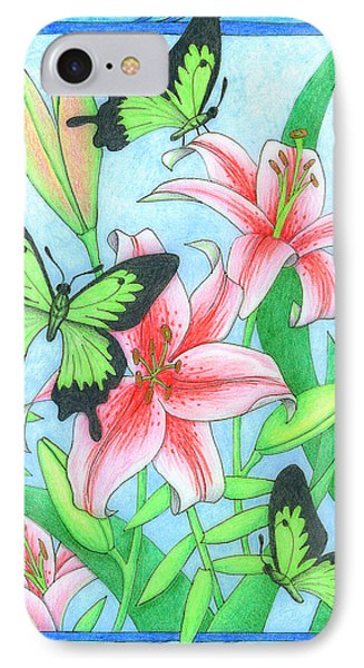 Butterfly Idyll- Lilies Phone Case by Alison Stein