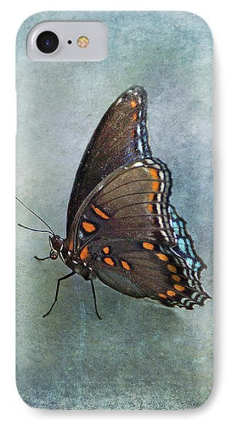 IPhone Case featuring the photograph Butterfly On Blue by Sandy Keeton