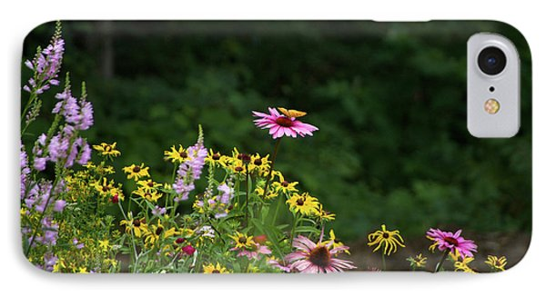 Butterfly On Cone Flower IPhone Case by Randi Shenkman