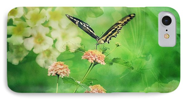 Butterfly On Lantana Montage IPhone Case by Toma Caul