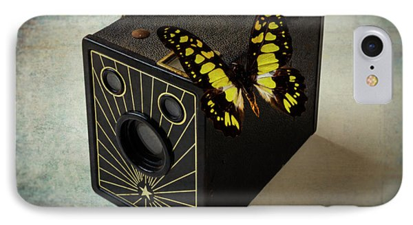 Butterfly On Old Camera IPhone Case by Garry Gay