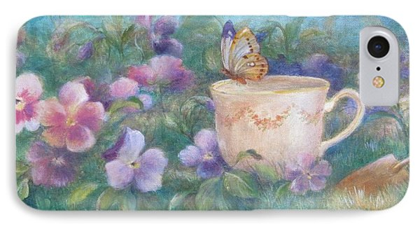 IPhone Case featuring the painting Butterfly On Teacup by Judith Cheng