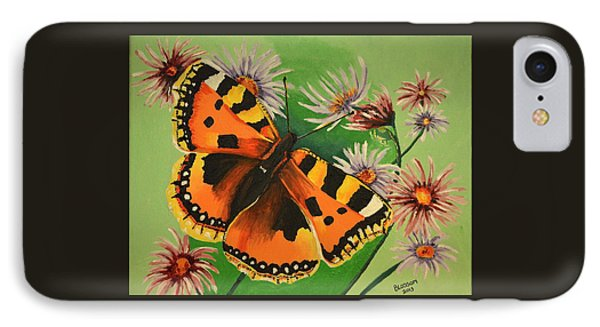 IPhone Case featuring the painting Butterfly With Asters by Donna Blossom