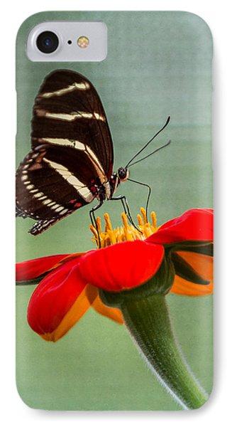 Butterfly Zebra Longwing On Zinnia IPhone Case