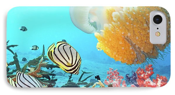 Butterflyfishes And Jellyfish Phone Case by MotHaiBaPhoto Prints