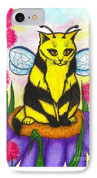 Buzz Bumble Bee Fairy Cat IPhone Case by Carrie Hawks