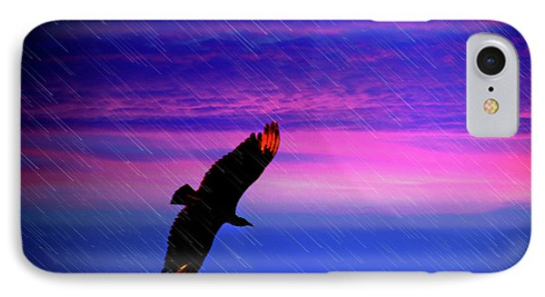 Buzzard In The Rain Phone Case by Al Bourassa