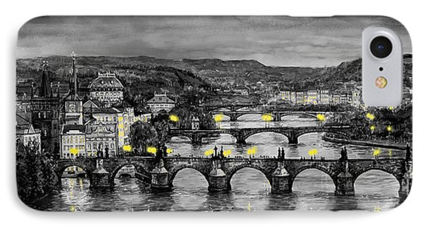 Bw Prague Bridges IPhone Case by Yuriy  Shevchuk