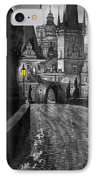 Bw Prague Charles Bridge 03 IPhone Case by Yuriy  Shevchuk