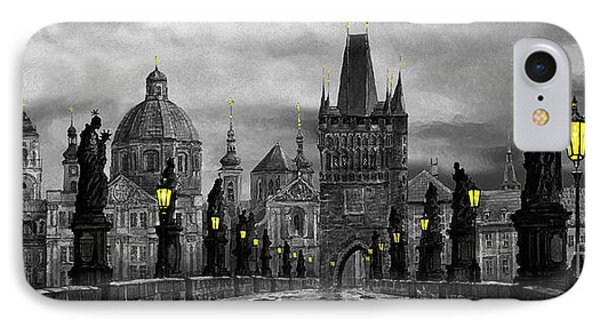 Bw Prague Charles Bridge 04 IPhone Case by Yuriy  Shevchuk
