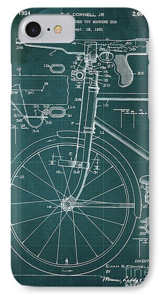 Bycicle Attached Toy Machine Gun Patent Blueprint, Year 1951 Green Vintage Art IPhone Case by Pablo Franchi