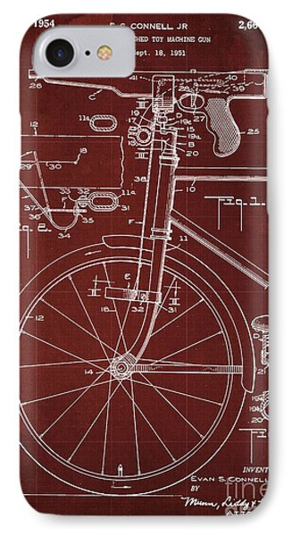 Bycicle Attached Toy Machine Gun Patent Blueprint, Year 1951 Red Vintage Art IPhone Case by Pablo Franchi