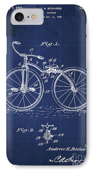 Bycicle Patent Blueprint Year 1930 Blue Vintage Poster IPhone Case by Pablo Franchi