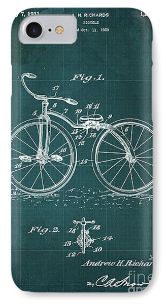 Bycicle Patent Blueprint Year 1930 Green Vintage Poster IPhone Case by Pablo Franchi