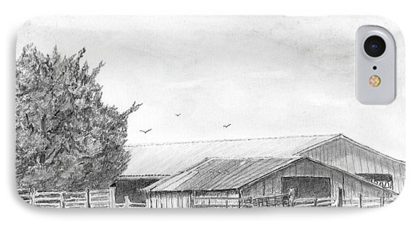 Byhalia Road Farm - Drawing IPhone Case by Barry Jones