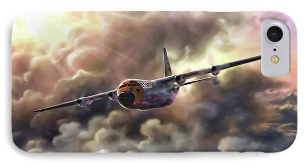 IPhone Case featuring the painting C-130 Hercules by Dave Luebbert