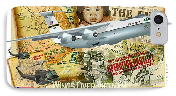 IPhone Case featuring the drawing C-141 Operation Baby Lift by Kenneth De Tore