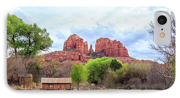 IPhone Case featuring the photograph Cabin At Cathedral Rock Panorama by James Eddy