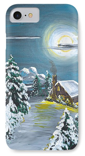 IPhone Case featuring the painting Cabin In The Woods by Donna Blossom