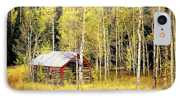Cabin In The Golden Woods IPhone 7 Case by Karen Shackles