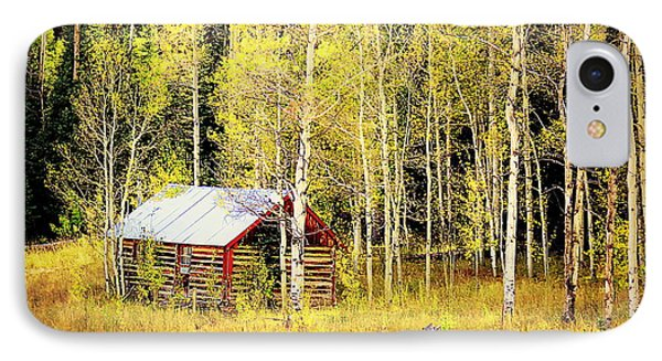 IPhone 7 Case featuring the photograph Cabin In The Golden Woods by Karen Shackles