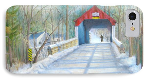 IPhone Case featuring the painting Cabin Run Bridge In Winter by Oz Freedgood
