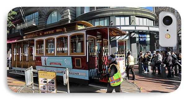 Cable Car Union Square Stop IPhone Case by Steven Spak
